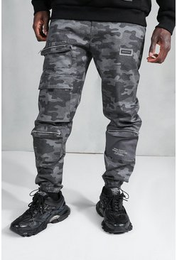 MAN Official Loose Fit Camo Cargo Trousers, Black