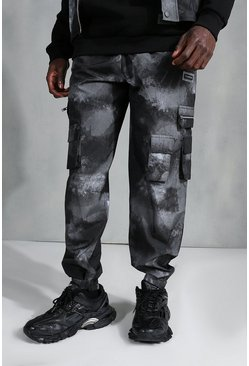 Black Printed Shell Cargo Trousers
