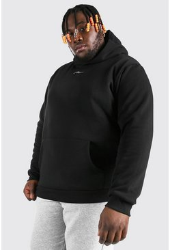 Black Plus Size MAN Script Heavyweight Hoodie