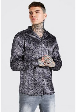 Chocolate Long Sleeve Paisley Print Satin Shirt