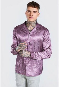 Mauve Long Sleeve Paisley Print Satin Shirt
