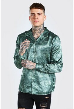 Khaki Long Sleeve Paisley Print Satin Shirt