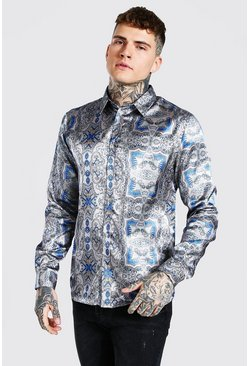 Taupe Long Sleeve Baroque Print Satin Shirt