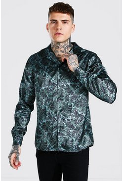 Sage Long Sleeve Floral Print Satin Shirt