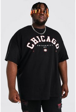 Black Plus Size Chicago Print T-Shirt