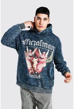 Charcoal Oversized Official MAN Acid Wash Print Hoodie