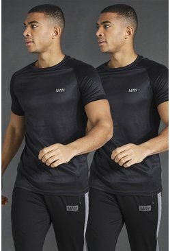 Black MAN Active 2 Pack Raglan T-Shirt