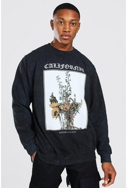 Sweatshirt in Übergröße in Acid-Wash-Optik mit Flower-Print, Anthrazit