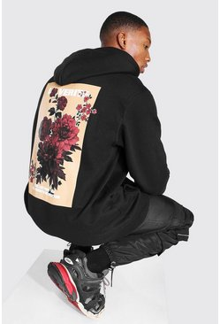 Black Oversized Flower Graphic Back Print Hoodie