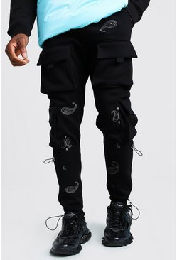 Jersey Cargo Jogger With Bandana Embroidery, Black