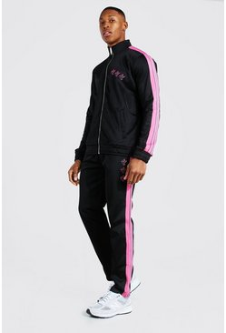 Black Dove Embroidered Funnel Neck Tricot Tracksuit