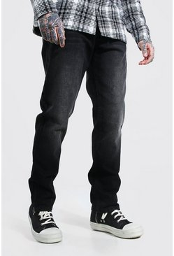 Washed black Straight Leg Zip Hem Rigid Jean