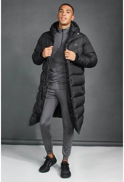 Black MAN Active Hooded Longline Puffer Jacket