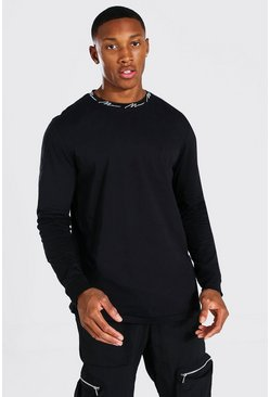 Black MAN Signature Neck Print Long Sleeved T-Shirt