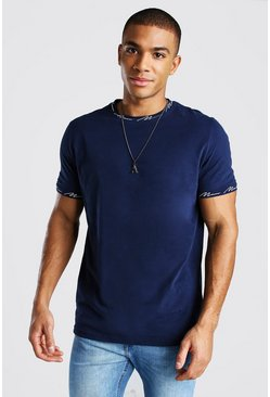 Navy Man Signature Neck And Cuff Graphic T-Shirt