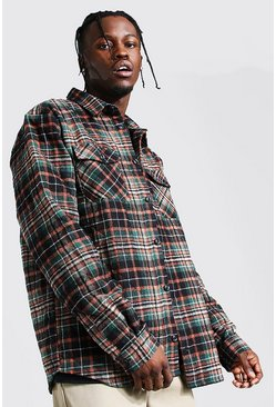 Forest Quilted Utility Check Overshirt