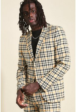 Camel Skinny Neon Check Suit Jacket