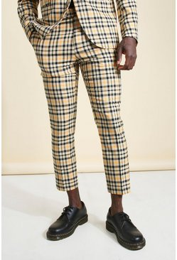 Camel Skinny Neon Check Cropped Suit Pants