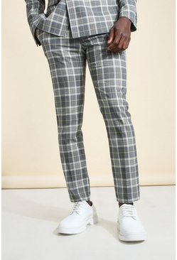 Grey Skinny Check Suit Trouser