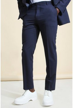 Navy Super Skinny Micro Check Cropped Suit Pants