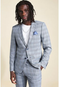 Grey Skinny Check Suit Jacket