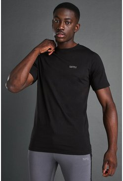 Black MAN Running Printed  T Shirt
