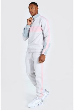 Grey MAN Colour block Half Zip Tracksuit