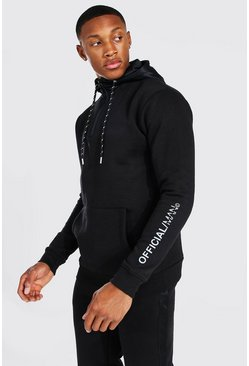Black Official Reflective Print Nylon Hooded Tracksuit