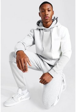 Grey marl Man Official Colourblock Hooded Tracksuit