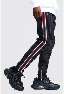 Black Skinny Fit Pintuck Tricot Jogger With Side Tape