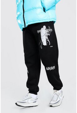 Loose Fit Limited Edition Print Joggers, Black