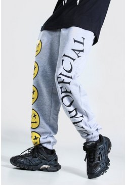 Grey marl Loose Fit MAN Official Drip Face Joggers