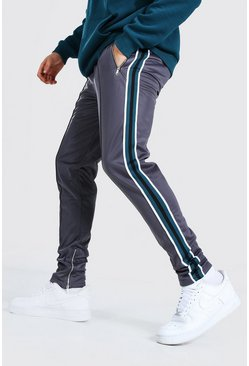 Charcoal Skinny Fit Pintuck Tricot Jogger With Side Tape