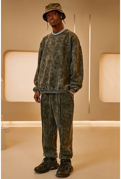 Charcoal Oversized Man Raw Seam Acid Wash Tracksuit