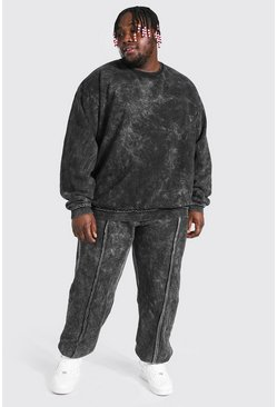 Charcoal Plus Size Man Raw Seam Acid Wash Tracksuit
