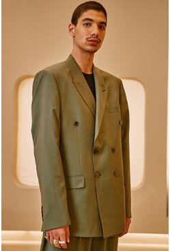 Relaxed Plain Double Breasted Suit Jacket, Sage