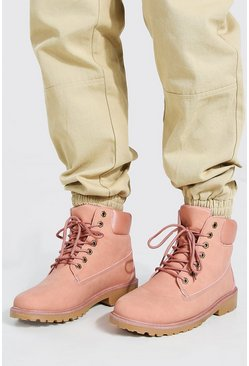 Pink Worker Boots