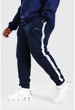 Plus Size MAN Skinny Jogger With Pintuck, Navy