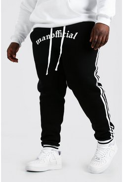Black Plus Size MAN Official Jogger With Tape