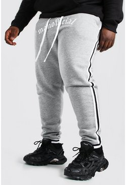 Grey marl Plus Size MAN Official Jogger With Tape