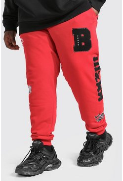 Red Plus Size MAN Official Varsity Jogger