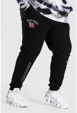 Black Plus Size MAN Worldwide Varsity Jogger