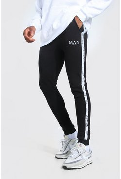 Black Skinny Fit Jogger With Man Tape