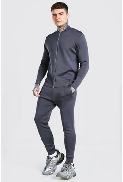 Charcoal Smart Knitted Bomber And Jogger Set
