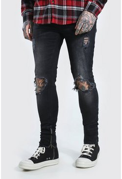 Washed black Skinny Stretch Exploded Knee Ripped Jean
