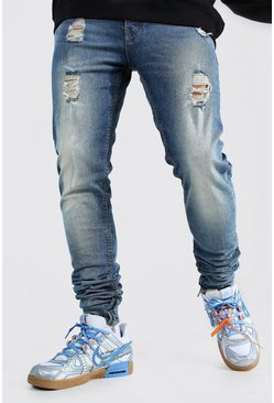 Light blue Skinny Stretch Stacked Distressed Jean
