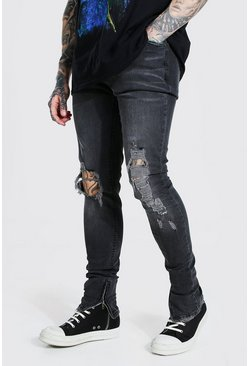 Charcoal Skinny Stacked Busted Knee Distressed Jean