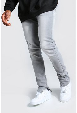 Mid grey Tapered Stretch Stacked Leg Jean With Ankle Zips
