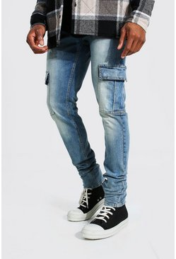 Light blue Skinny Stretch Stacked Leg Cargo Jean