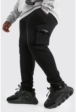 Black Plus Size Cargo Jogger With Rubber Tab